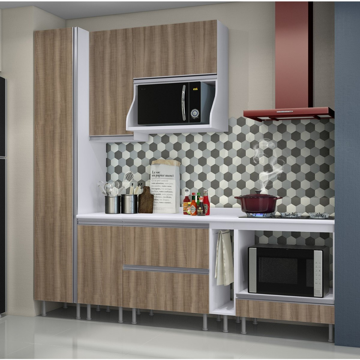 Cozinha Completa Com Balc O E Tampo 8 Pe As Rimini Je R 1 899 90