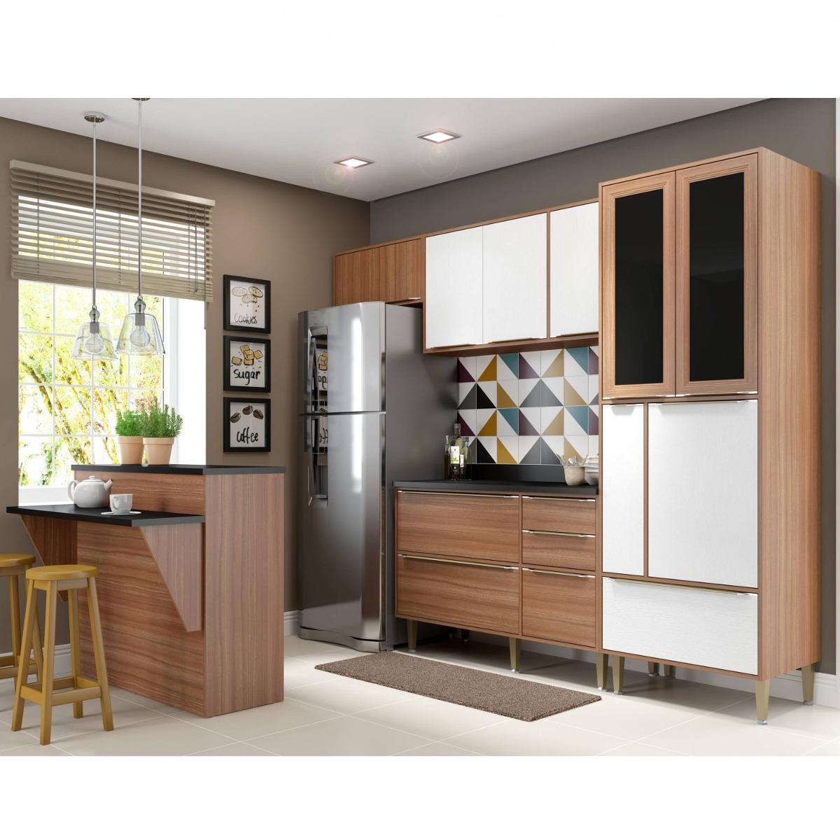 Cozinha Completa Com Bancada E Balc O Com Tampo 6 Bi R 2 099 90