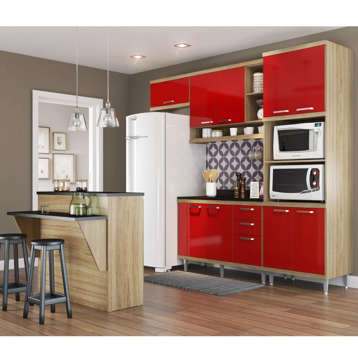 Cozinha Completa Com Bancada E Balc O Com Tampo 6 Dj R 2 099 90