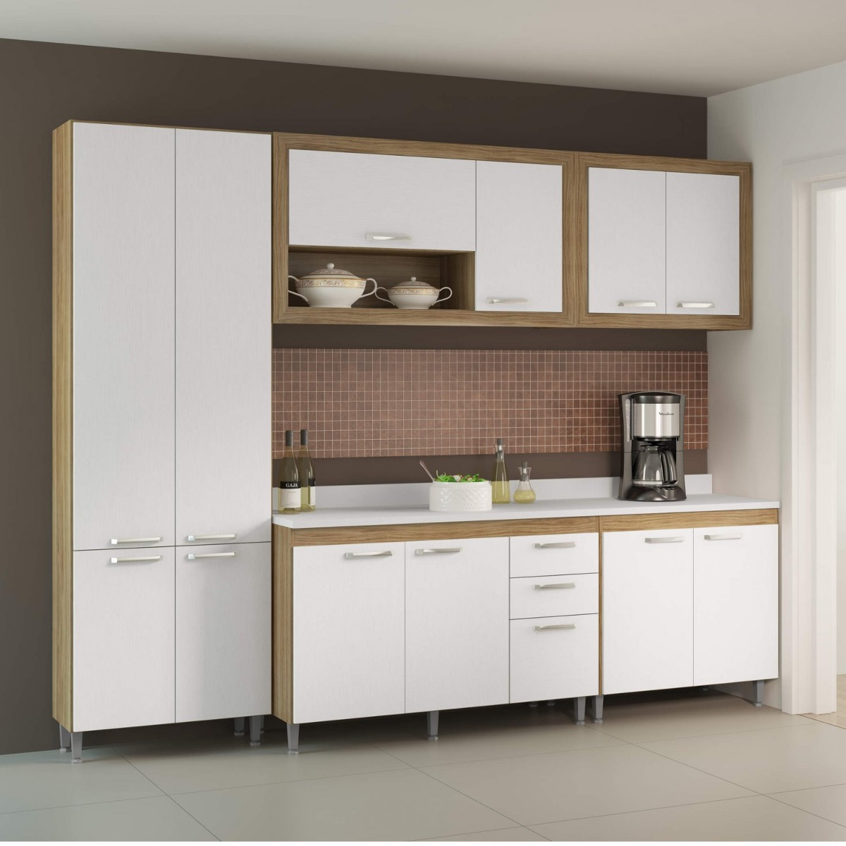 Cozinha Completa Com Tampo 12 Portas 6 Pe As Toscana Gj R 1 659