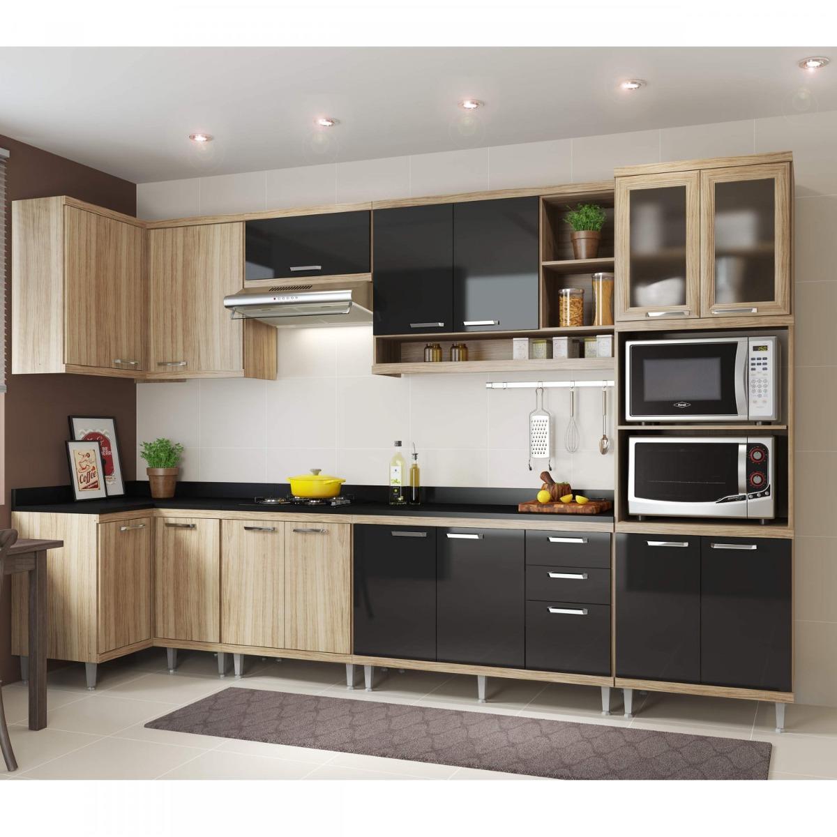 Cozinha Completa Com Tampo 15 Portas 8 Pe As Sic Lia Ba R 2 599