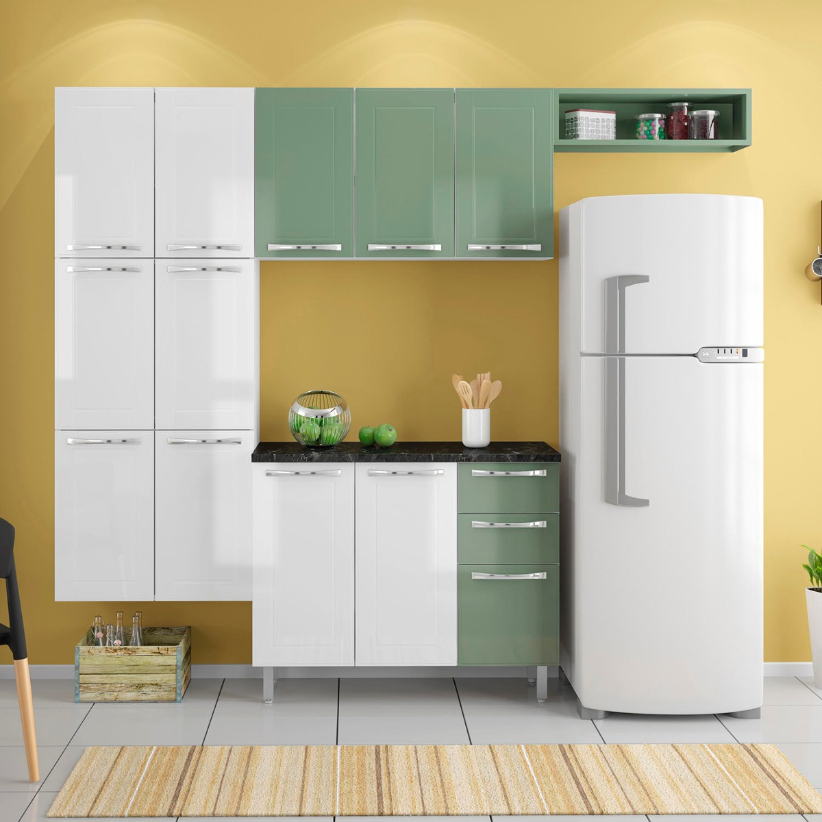 Cozinha Completa Em A O Nica Casamob Branco Sal Verde R 1 389 90