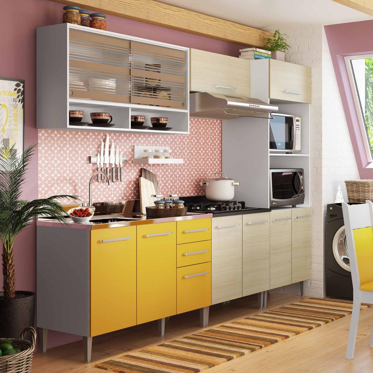 Cozinha Completa Madesa Glamy Eli Branco Tirol Amarelo R 1 589 90