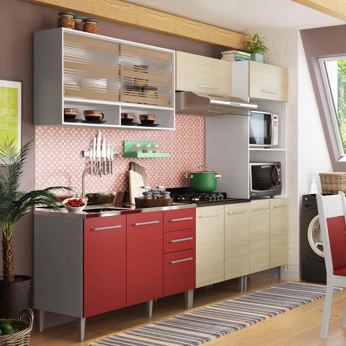 Cozinha Completa Madesa Glamy Elis Branco Tirol Vermelho R 1 589