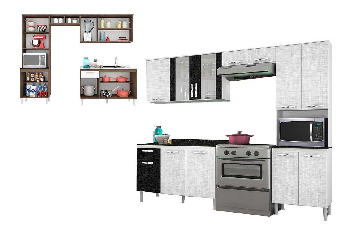 Cozinha Completa Nicioli Branco 3d Preto 3d Fit R 811 90 Em