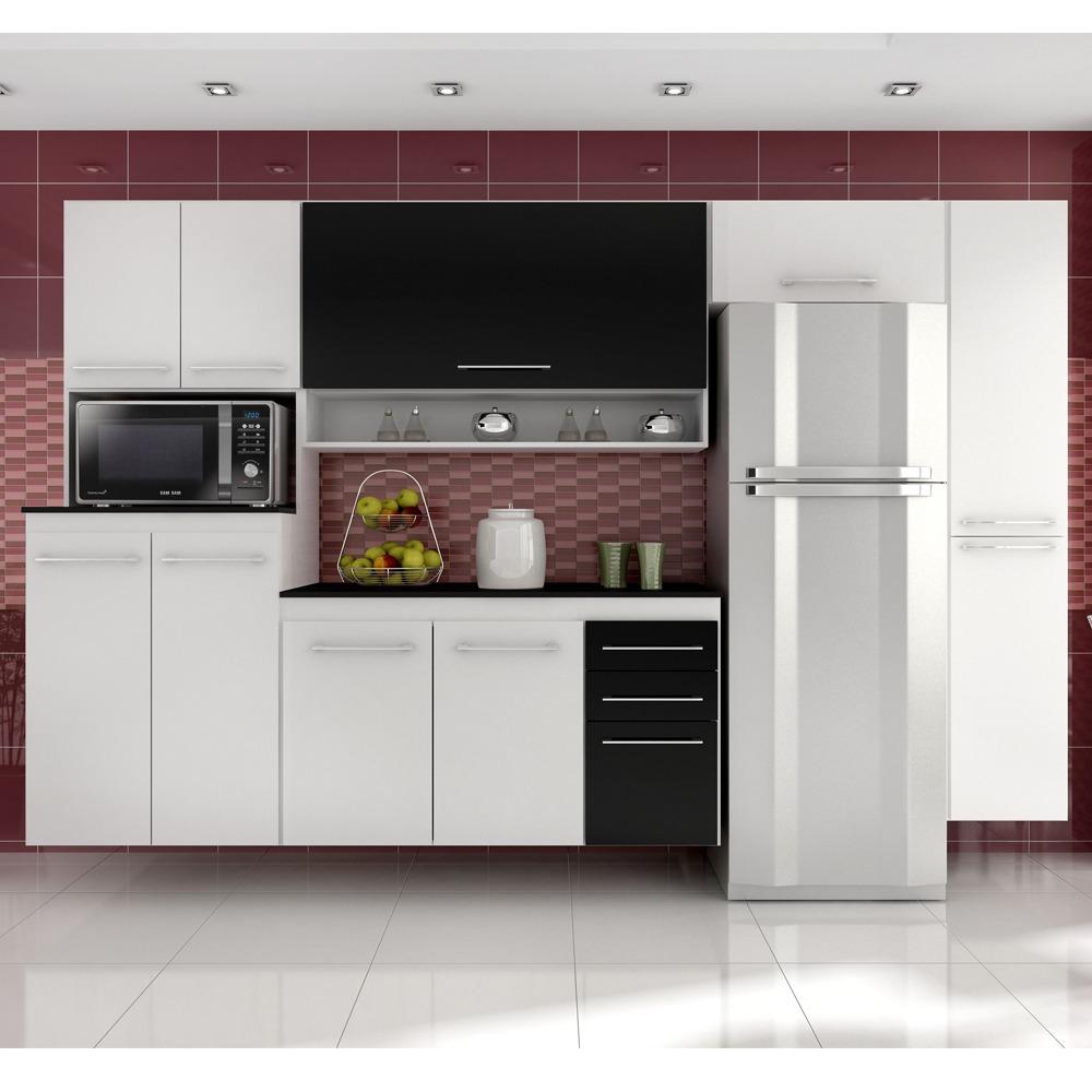 Cozinha Completa Rebeca Coral 5 Pe As Branco Preto R 1 519 00 Em