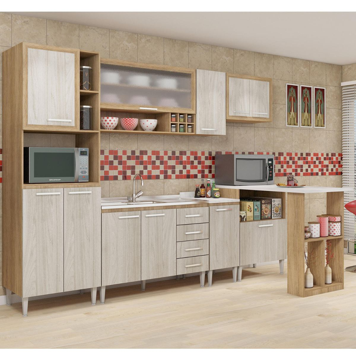 Cozinha Completa Sem Tampo Style 11 Portas Fellicci Xxxv R 1 487