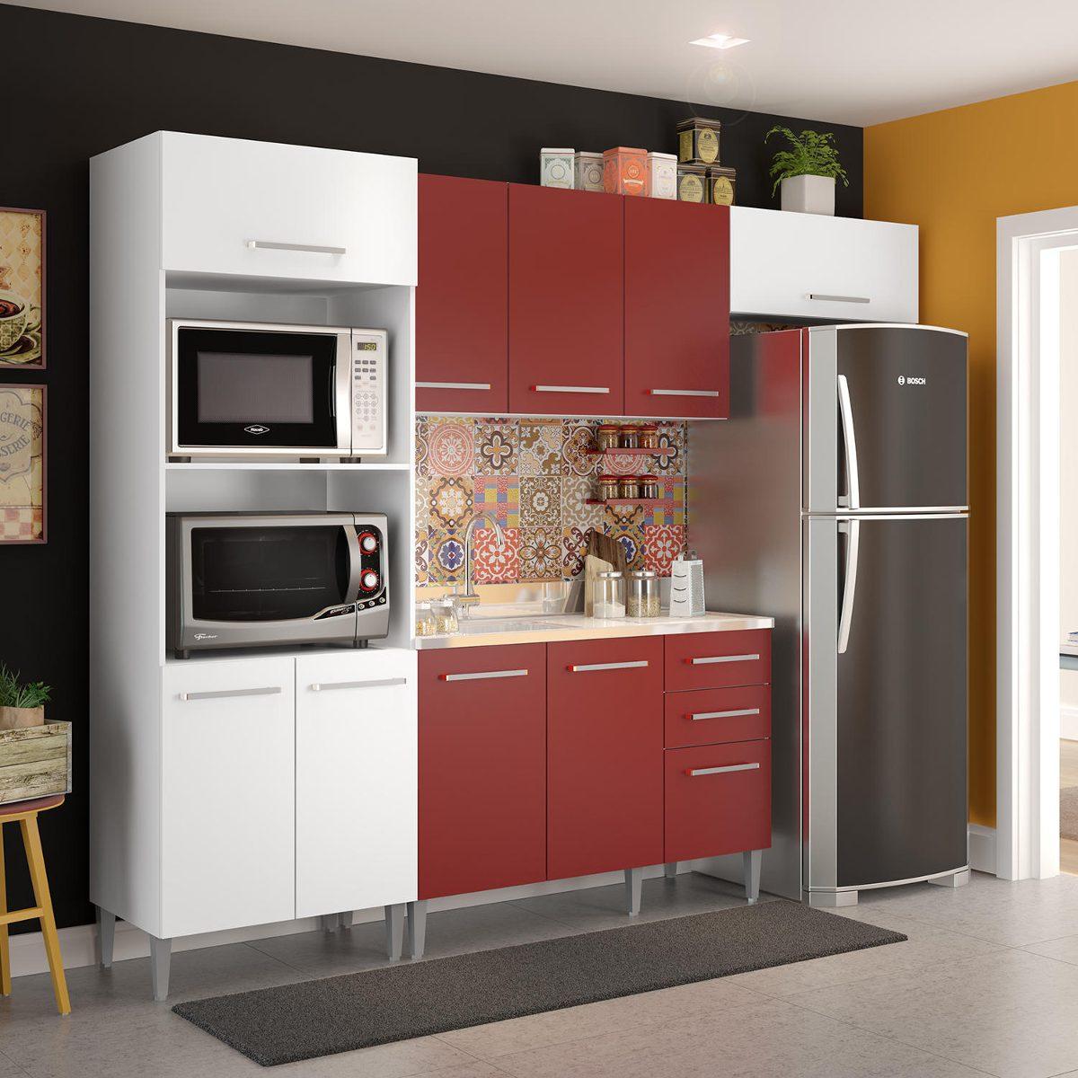 Cozinha Completa Tulipa Madesa Branco Vermelho Bjwt R 931 10 Em