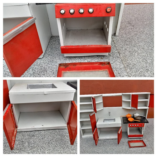 cozinha fogão pia armarios metal antiga miniatura disp rarid