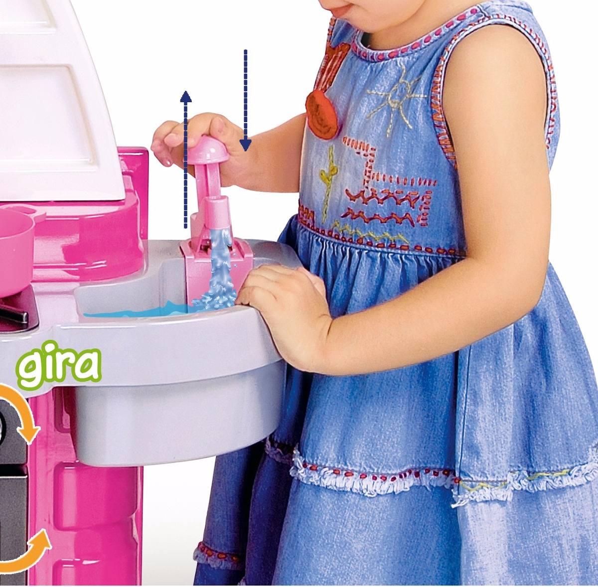 Cozinha Infantil Completa Pia Sai Gua Jogo De Jantar R 119 90