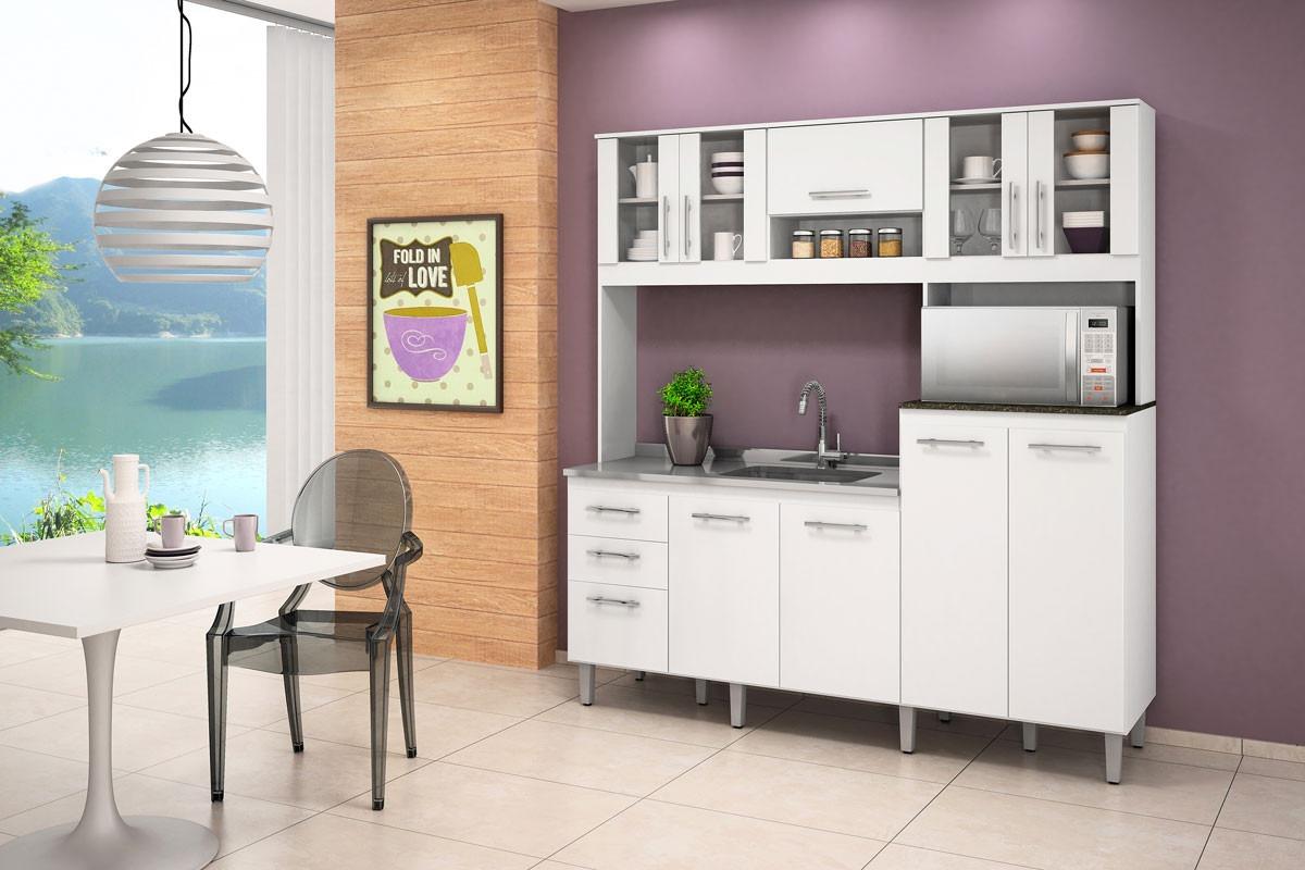 Cozinha Kit Florata 9 Portas Compacta Branco100 Mdf Nicioli R