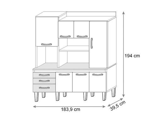 cozinha mirela com 7 portas essence/brown - lc móveis