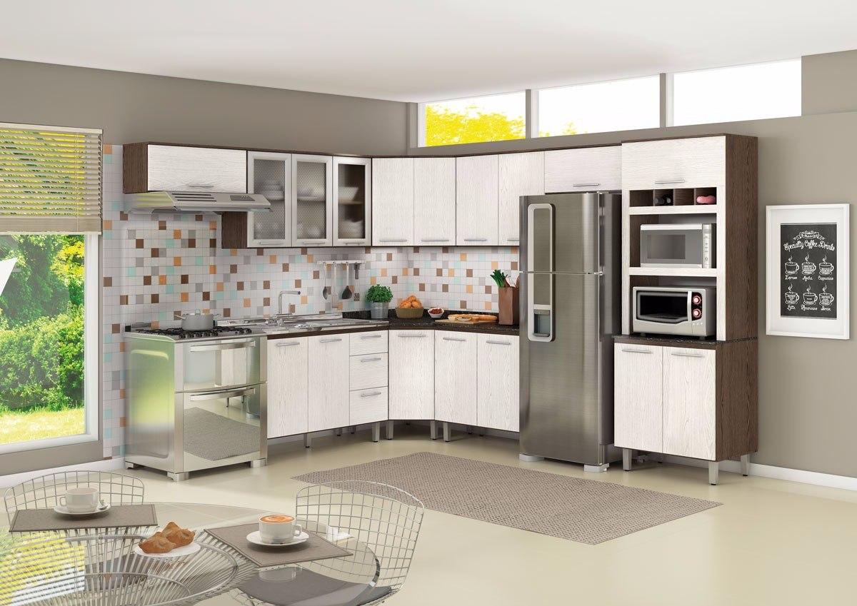 Cozinha Modulada 100% Mdf Nicioli 8 Peças Armário Balcão  R$ 2299,00 em Mer # Kit Cozinha Pequena