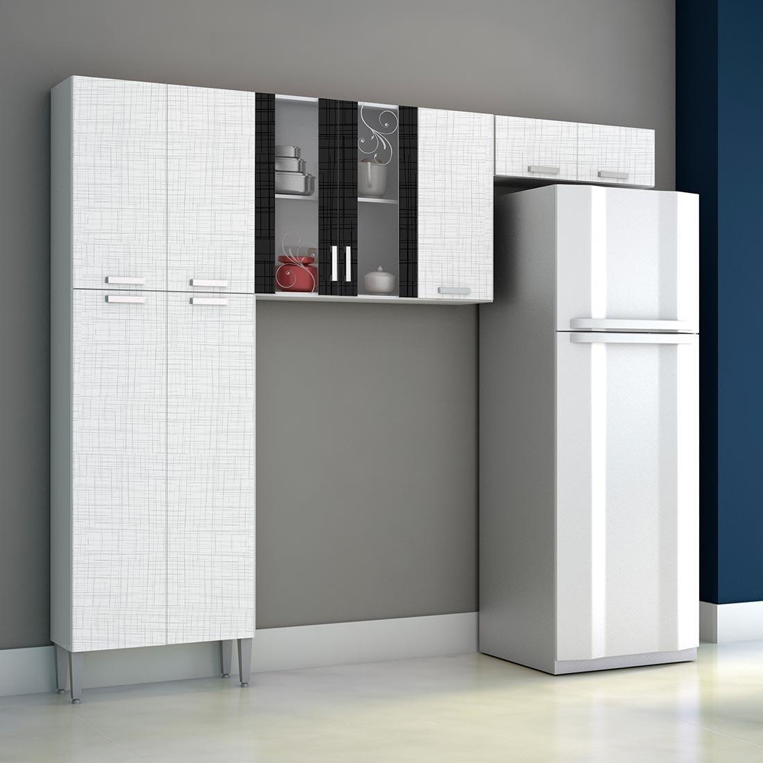 Cozinha Modulada 3 Pe As Alfa Linho Branco E Preto R 299 90 Em