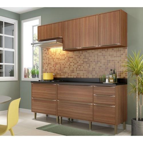 cozinha modulada calabria nogueira 04 pecas multimoveis