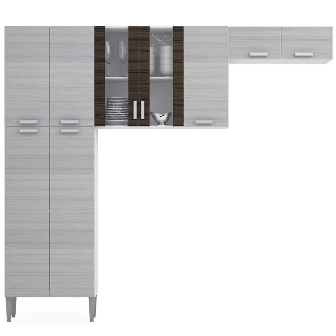 Cozinha Modulada Completa Alfa Branco Rovere Kits Paran R
