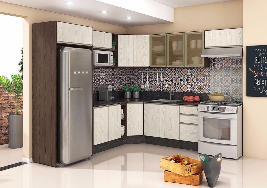 Cozinha Modulada Kali 100% Mdf Balcão Armário Basculante  R$ 2150,00 em Mer # Armario De Cozinha Renata