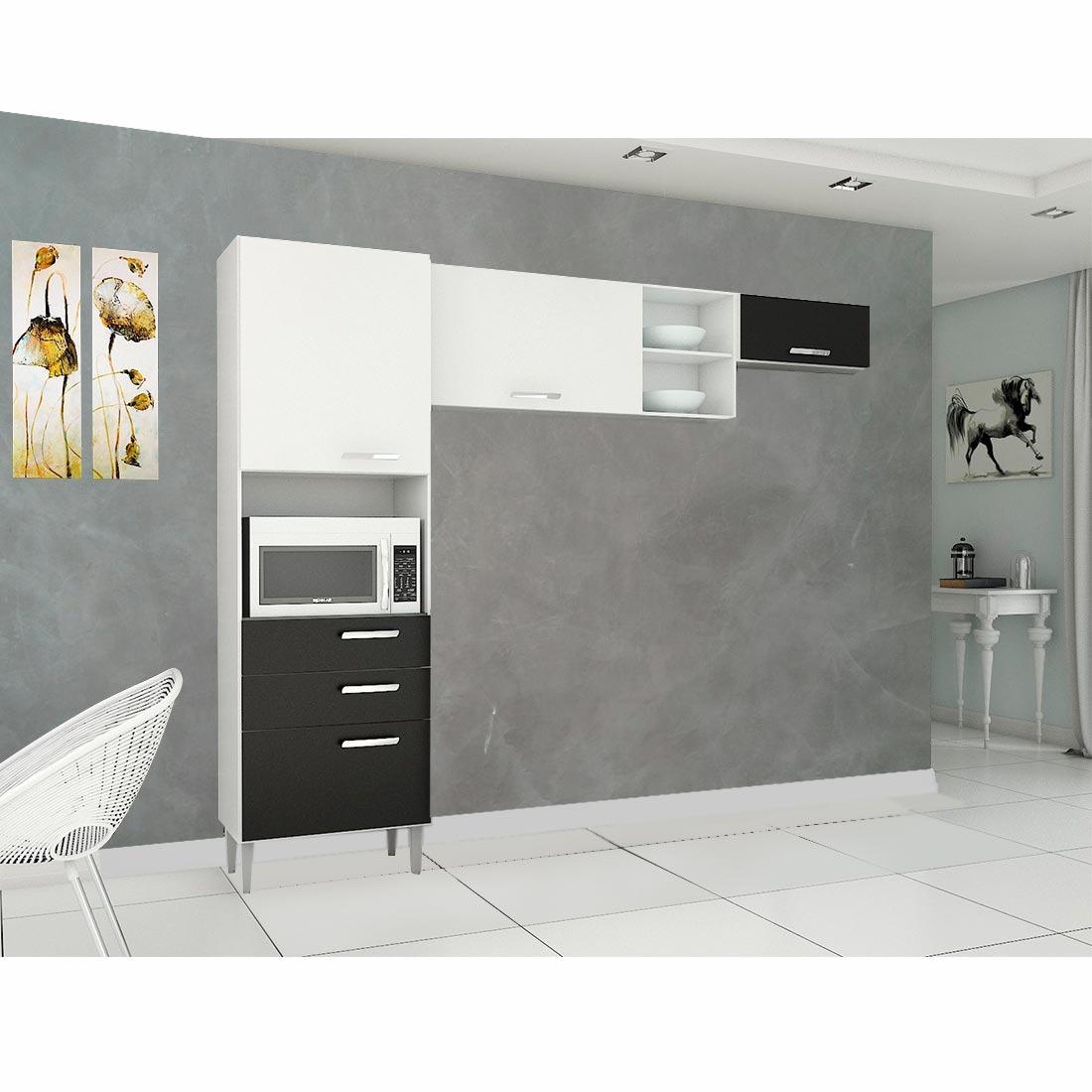 Cozinha Modulada Poquema Natalia 4 Portas Branco E Preto R 461