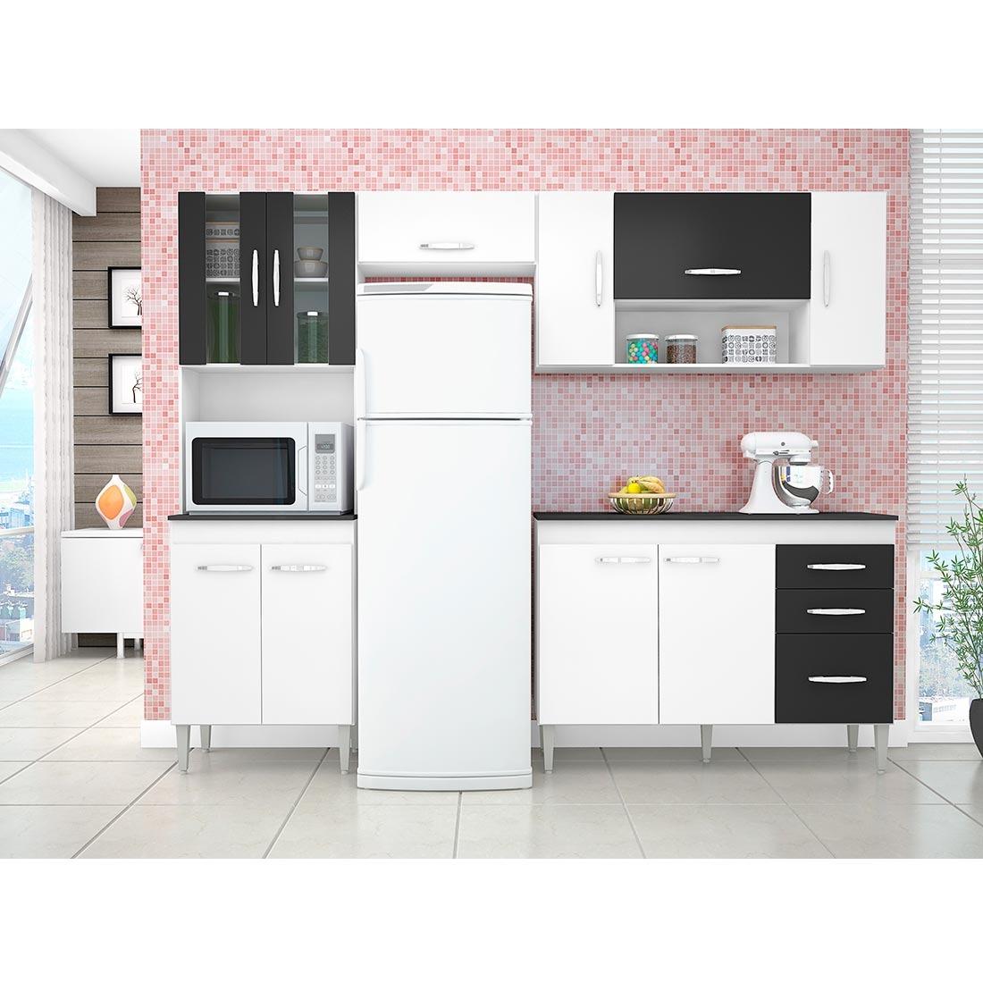 Cozinha Poquema Manuela 8 Portas Branco E Preto R 461 89 Em