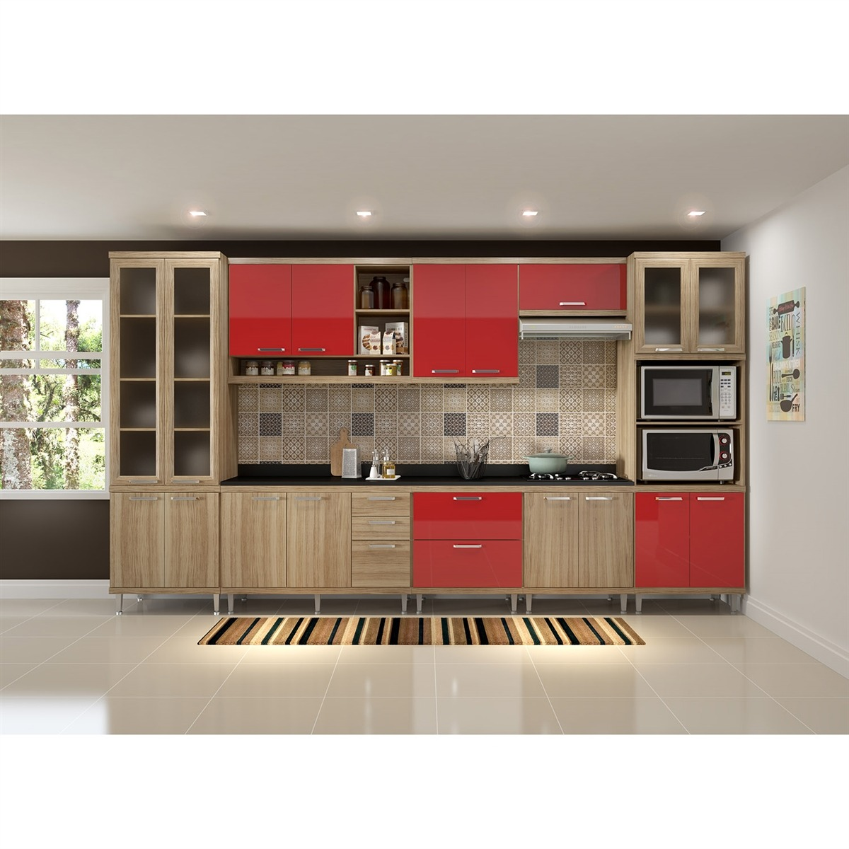 Cozinha Tampo 9 M Dlos Argila Texturizado Vrmlho Multim Veis R