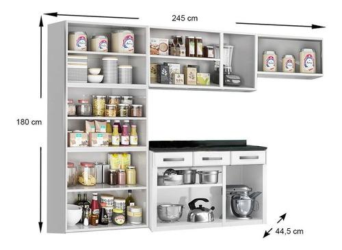 cozinha telasul rubiaço 4 peças coz99 branco/preto