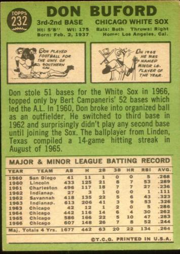 cp1 don buford topps 1967 nº 232