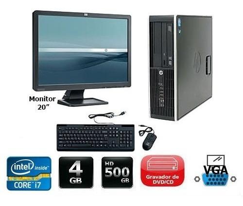 cpu + 2 monitor hp compac elite core i7 4gb 500gb - novo