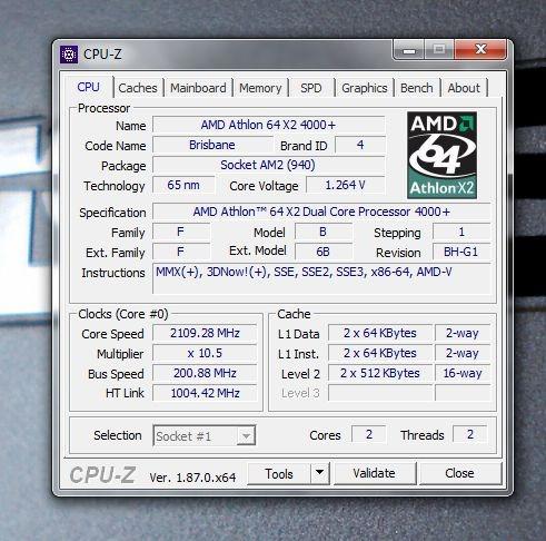cpu amd athlon 64 x2 4000+ dual core 2gb asus