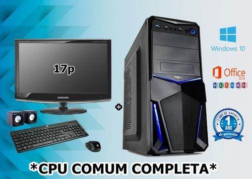 cpu completa dual-core 4gb ddr2 hd 1 tera dvd wifi nova