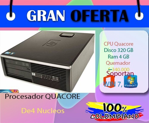 cpu computador core2 qua 4 nucleos disco 320 gb 4gb ram ddr3
