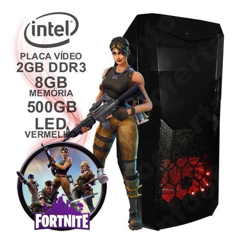 cpu computador pc gamer fortnite 8gb + vídeo ddr3 + jogos