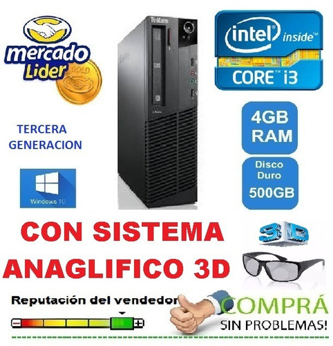 cpu core i3 tercera gen. ram 4 hd 500 + hdmi