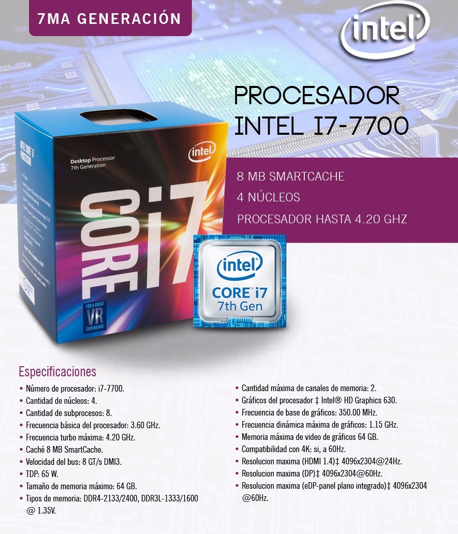 Cpu Core I7 7700 S1151 + Mother Asus H110a Video +8 Gb Ddr4