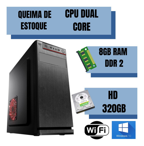 cpu desktop dual core 8gb ram 320gb win10 programas. frete!