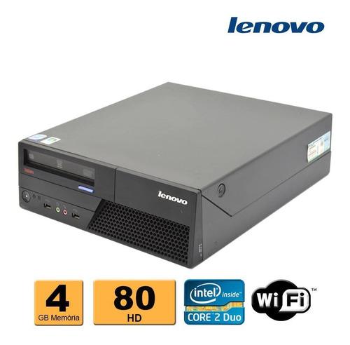 cpu desktop lenovo c2d e8400 4gb ddr3 hd 80gb leitor dvd wif