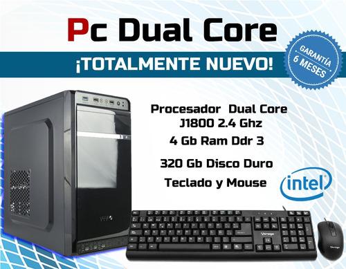 cpu dual core 4 gb de ram ddr3, 320 gb disco duro.