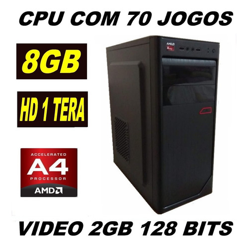 cpu gamer barata com 70 jogos  8gb  pes lol gta v cs go