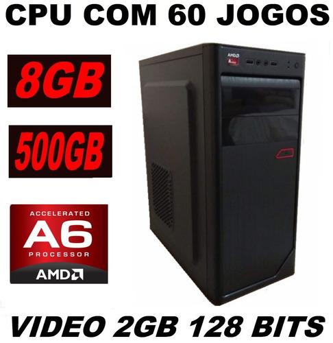 cpu gamer barato  60 jogos hd 500   8gb video 2gb lol  gta v