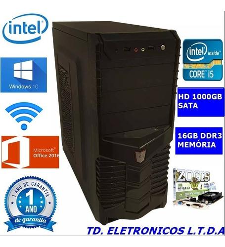 cpu gamer core i5 /16gb ddr3 /hd 1000gb /wifi/1gb video