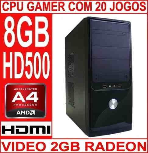 cpu gamer  nova memoria 8gb hd 500 gb video 2gb