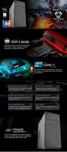 cpu intel 7ª geração i7 7700 kaby lake, 16gb ddr4, 1tb, top
