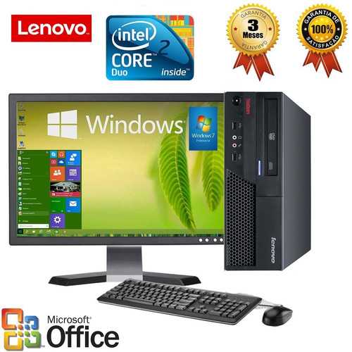 cpu lenovo thinkcentre intel core 2 duo + 4gb ram + hd sata 320gb + monitor 17  + garantia de 90 dias