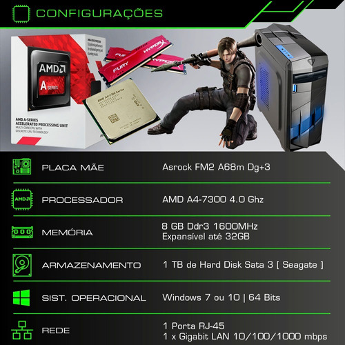 cpu pc gamer 4.0ghz 8gb 1tb placa gtx 1050ti 4gb + kit gamer