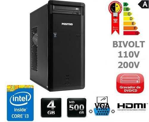 cpu positivo intel core i3 4gb hd 500gb - barato