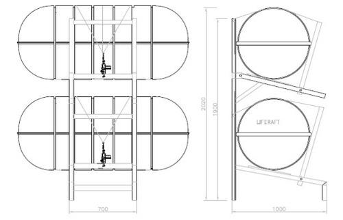 cradle suporte ferro - berço 2 balsas vertical  eurosul