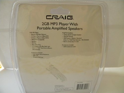 craig diseño portatil de alta calidad de 2 gb reproductor d