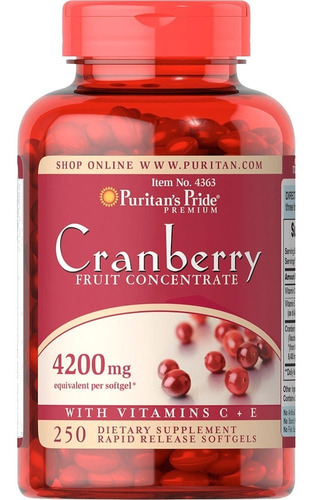 cranberry 4200mg 250 softgels, puritan's pride