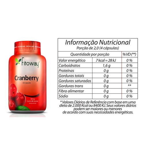 cranberry 500mg fitoway 2x + brinde colágeno 60 cáps