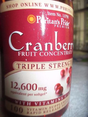 cranberry de 12000 con vitamina c y e marca puritan's pride