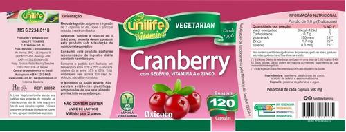 cranberry oxicoco 500mg 120 cápsulas - unilife